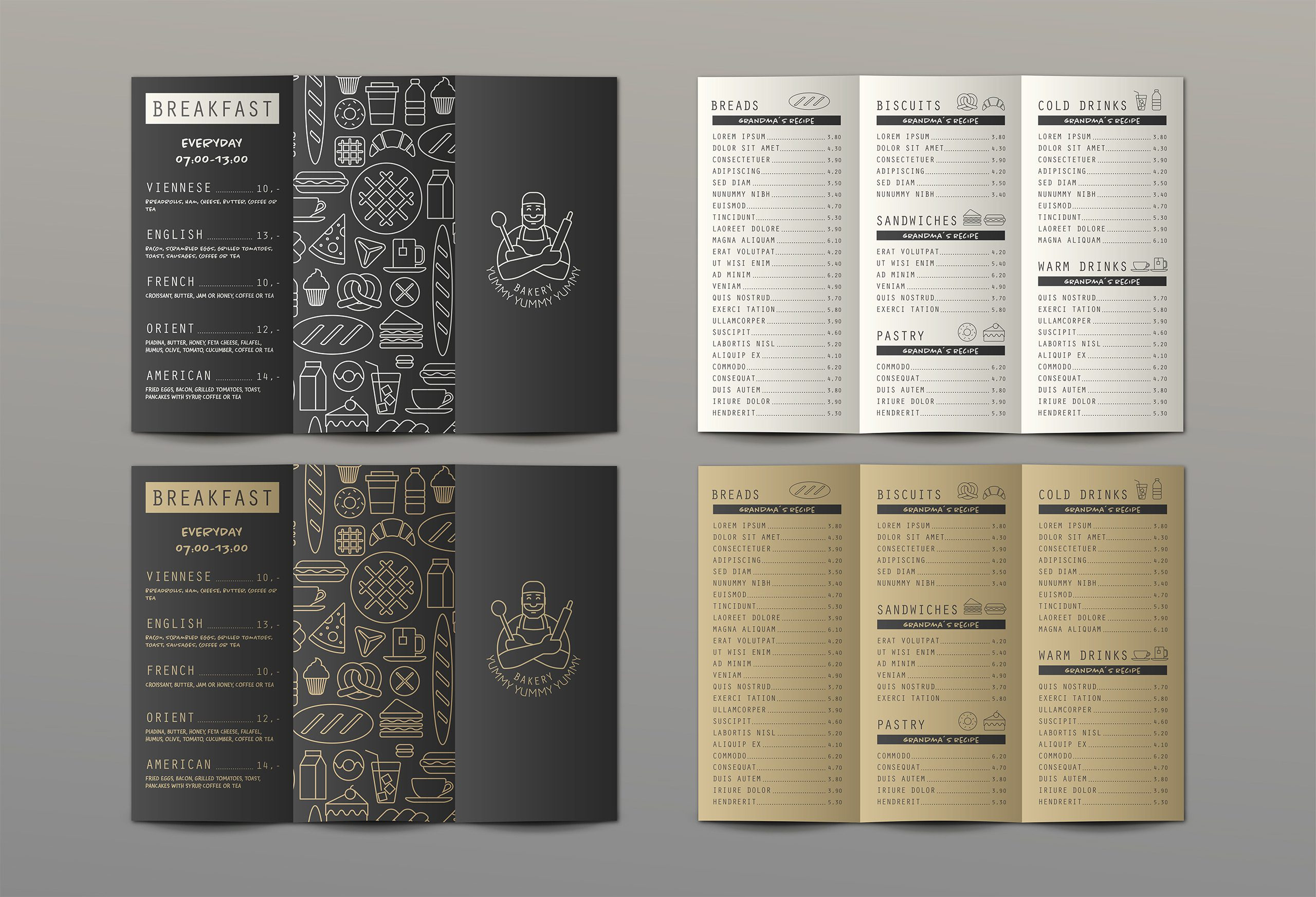 bakery yummy yummy yummy menu design