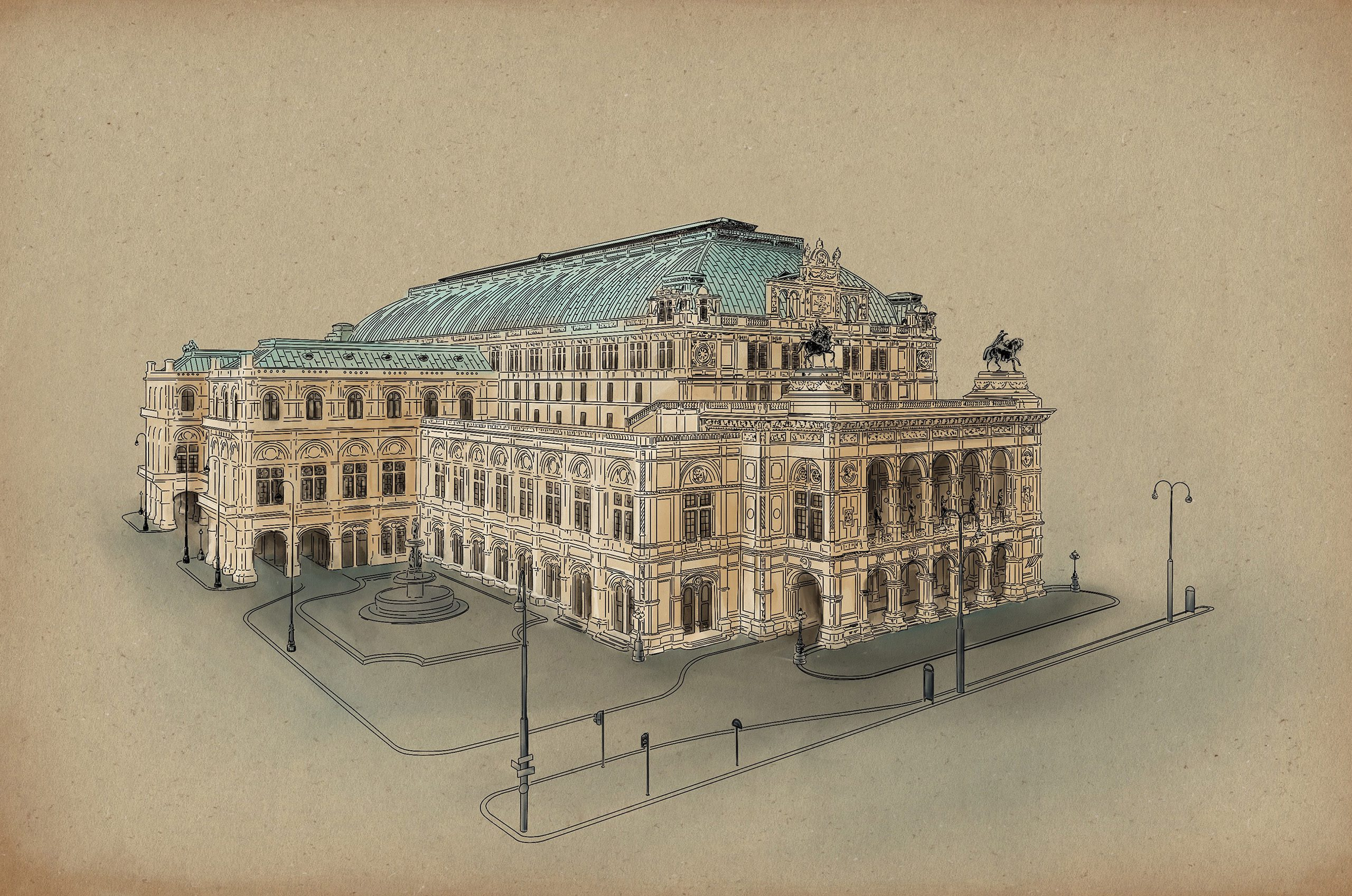 vienna state opera illustration